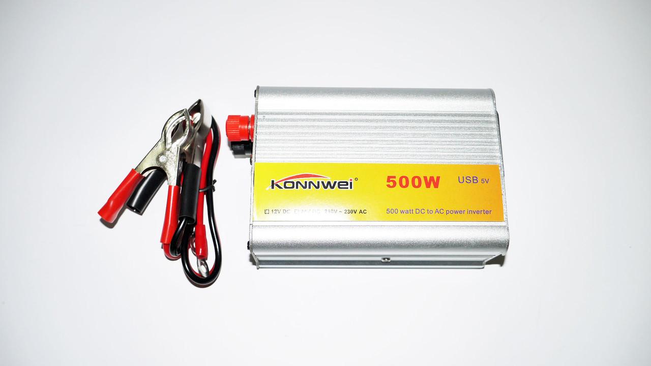 Инвертор преобразователь 12-220В 500Вт Konwei