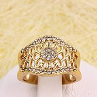 002-2886 - Позолоченное кольцо с прозрачными фианитами, 17.5 р