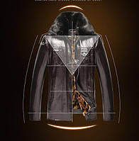 Черная кожаная куртка теплая с меховым воротником Одесса