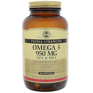 Сольгар, Омега-3 EPA и DHA, Тройная сила, 950 мг, 100 мягких гелей