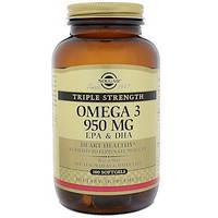 Сольгар, Омега-3 EPA і DHA, Потрійна сила, 950 мг, 100 м'яких гелів