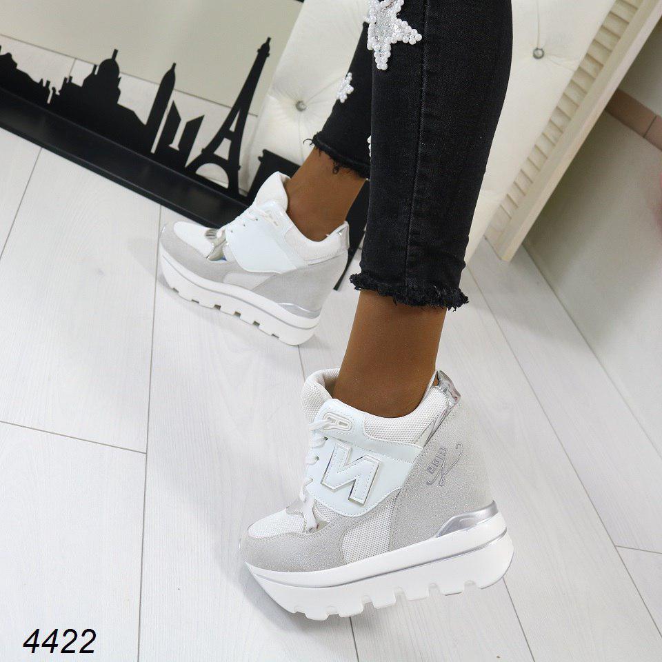 a12d0adb7cd3 Женские кроссовки сникерсы на платформе N Белые с Серым  продажа ...