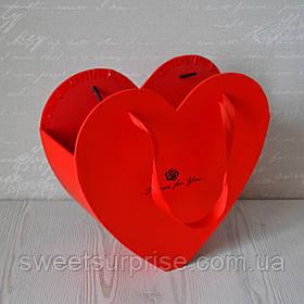Подарочная коробка для цветов сердце (красный)