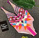 Купальник сдельный орнамент открытая спина (розовый), фото 2