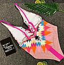 Купальник сдельный орнамент открытая спина (розовый), фото 3