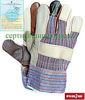 Перчатки рабочие усиленные яловой кожей REIS Польша RLKPAS MC