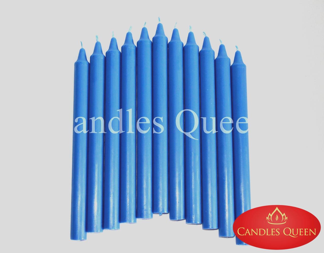 Свеча столовая синяя 240х20 мм
