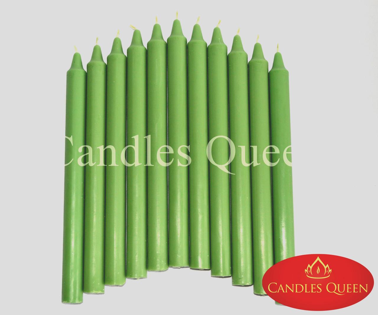 Свеча столовая зеленая темн. 240х20 мм 16 шт