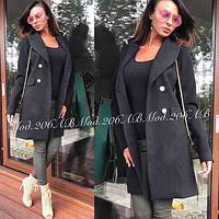 Женское пальто бежевое, чёрное, фото 1