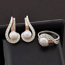 Серебряный набор с золотыми пластинами, кольцо размер 19.5 + серьги 26*14 мм