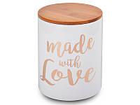 Банка для хранения сыпучих с бамбуковой крышкой Made With Love