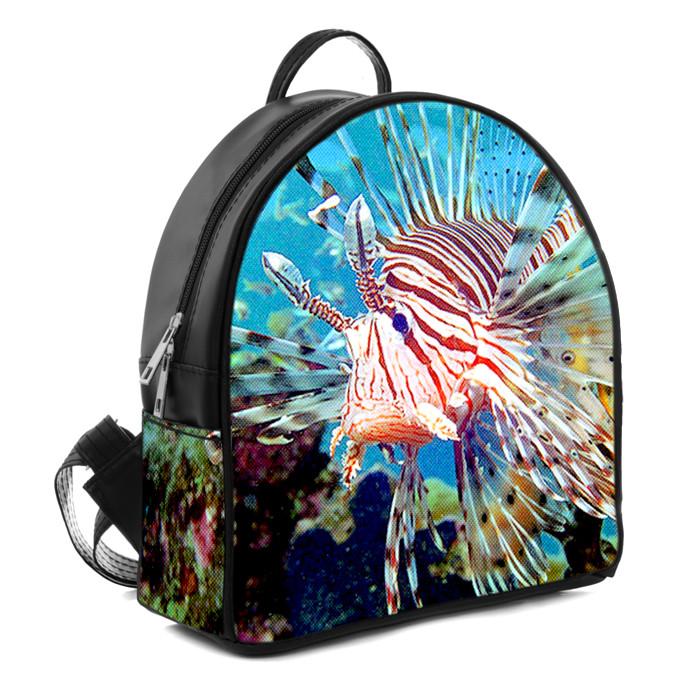 Черний городской рюкзак с принтом  Риба