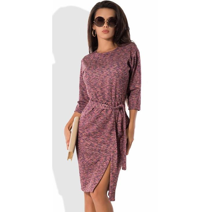 Трикотажное платье меланж с поясом Д-525