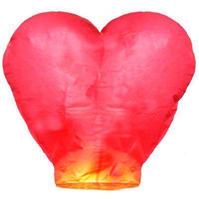 Китайский летающий фонарик сердце красное 110 см