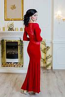 Платье молодежное длинное велюр гипюр