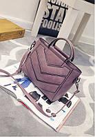 Жіноча сумка з ручками і ремінцем фіолетова опт, фото 1