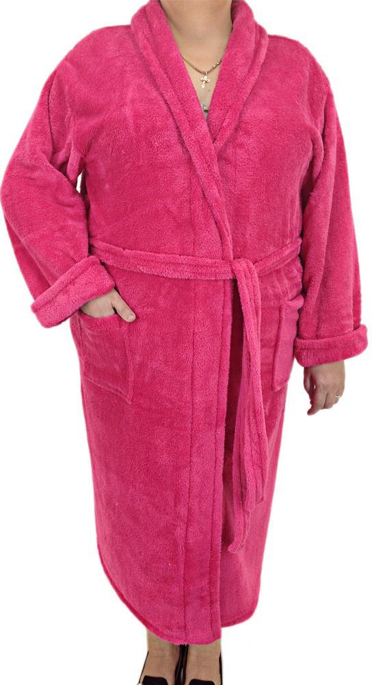 Красивый женский халат из микрофибры, размер 3XL,4XL,5X SOFT SHOW COLLECTION 20-1, розовый