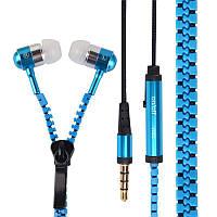 ✓Гарнитура вакуумная Lesko ZIP Змейка Синяя с микрофоном для смартфона разговоров прослушивания музыки