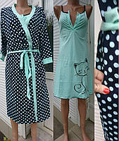 Женский комплект большого размера халат и сорочка в горох с кошкой, женские комплекты оптом от производителя