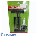 Наборы для ремонта бескамерных шин (шило, игла, клей, 5 черных шнуров) Tire plug kit
