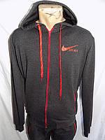 Мужской спортивный костюм трикотаж весна-осень с капюшоном (цвет серый+красный) оптом