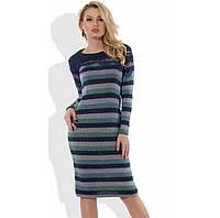 Уникальное трикотажное платье в полоску Д-592