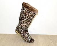 Леопардовые силиконовые сапоги со съёмным чулком
