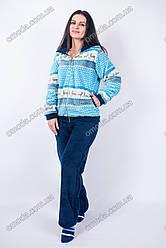 Женская яркая пижама софт-махра на молнии с длинным рукавом