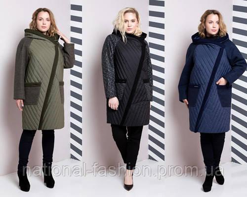 Комбинированное демисезонное женское пальто №625 (р.48-64)