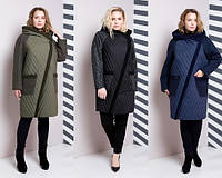 Комбинированное демисезонное женское пальто №625 (р.48-64), фото 1