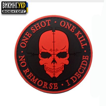 НАШИВКА ONE SHOT - ONE KILL ПВХ BLACK RED, фото 2