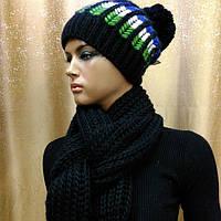 Шапка с шарфом LOMAN Gem Sport,черный цвет, фото 1