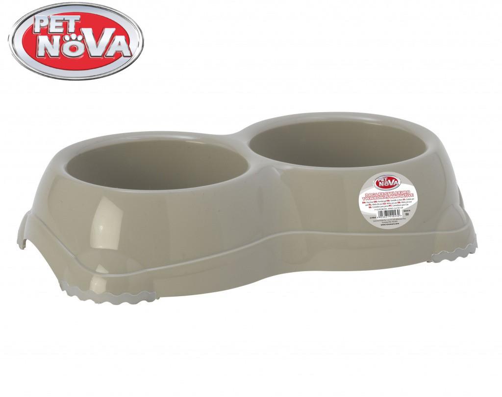 Подвійна пластикова миска для собак Pet Nova 2х330 мл Сіра