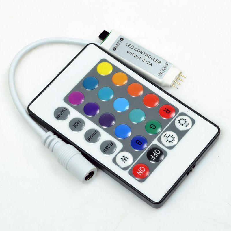RGB-контроллер MINI IR инфракрасный 6А (24 кнопки на пульте)