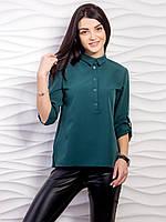 Однотонная блуза с планкой