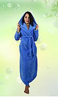 Длинный махровый халат с капюшоном. (Голубой). АРТ-1098.2