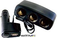 Разветвитель прикуривателя AW07-13 AUTO WELLE 12V/24V, USB 1000mA, 70W три гнезда