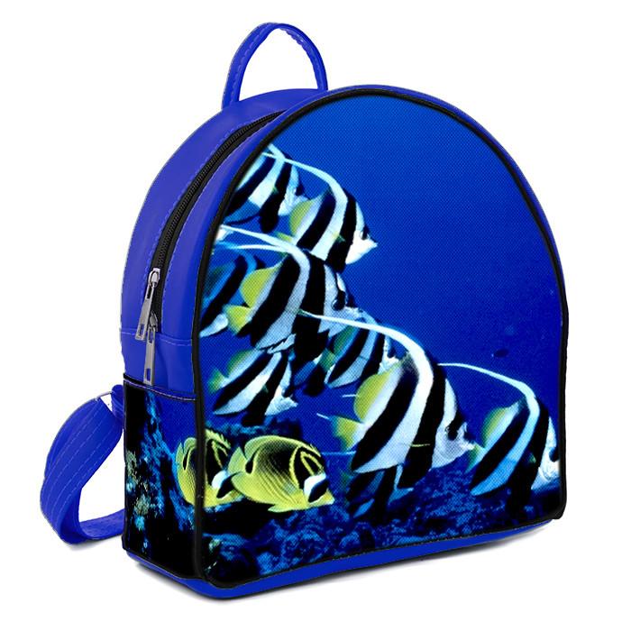 Синий городской рюкзак с принтом Рыбки
