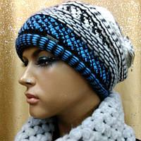 Женская шапка чалма Perfect TM Loman, двойная вязка, полушерстяная, цвет меланж с голубым