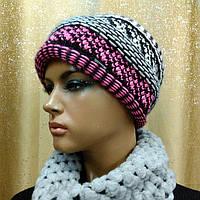Женская шапка чалма Perfect TM Loman, двойная вязка, полушерстяная, цвет меланж с розовым