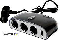 Разветвитель прикуривателя AW07-15 AUTO WELLE 12V/24V, USB 1000mA, 70W на 3 гнезда
