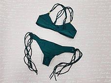 Купальник раздельный  бикини, мягкая чашка с вкладышем, бразилиана тёмно-зелёный с кисточками-130-62, фото 3