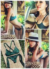 Купальник раздельный  бикини, мягкая чашка с вкладышем, бразилиана тёмно-зелёный с кисточками-130-62, фото 2