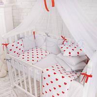 """Комплект в кроватку (бортики - подушки) Baby Design """"Сердечки с горошком"""" (натуральный наполнитель - ekotton)"""