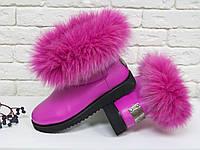 Женские ботинки в стиле UGG из натуральной кожи цвета фуксия, фото 1