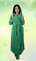 Длинный махровый халат с капюшоном. (Зеленый). АРТ-1098.2