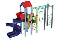 Детский игровой комплекс Котик с пластиковой горкой Спираль, высота горки 1,5м