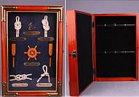 "Ключница настенная на 6 крючков, 20х7х33 см. ""Морские узлы"" коричневая"