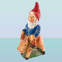 Садова фігура, фігурка для саду Гном на свині