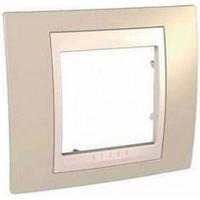 Рамка Schneider-Electric Unica Plus 1-пост песчаный / сл. кость MGU6.002.567